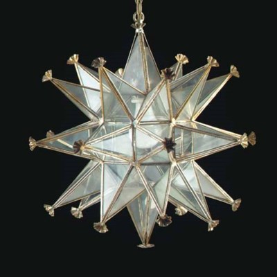 A SILVERED METAL FORM STAR-FOR