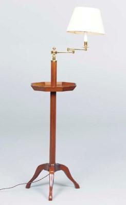 A PAIR OF MAHOGANY FLOOR LAMPS