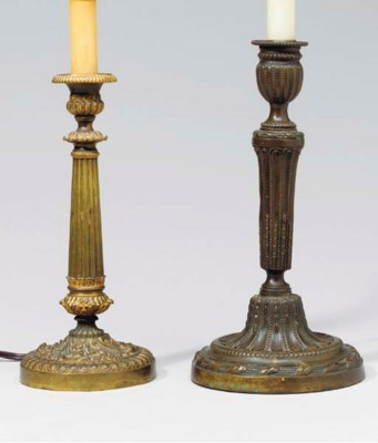 TWO CHARLES X CANDLESTICK LAMP