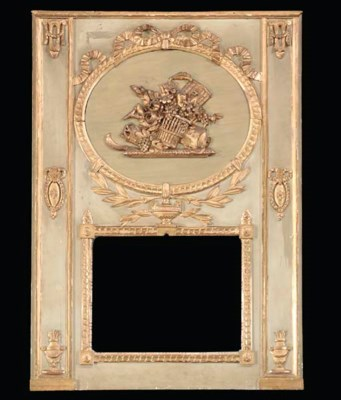 A LOUIS XVI CARVED PAINTED AND