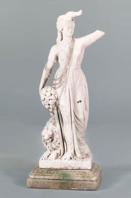 A MARBLE FIGURE OF A WOMAN,