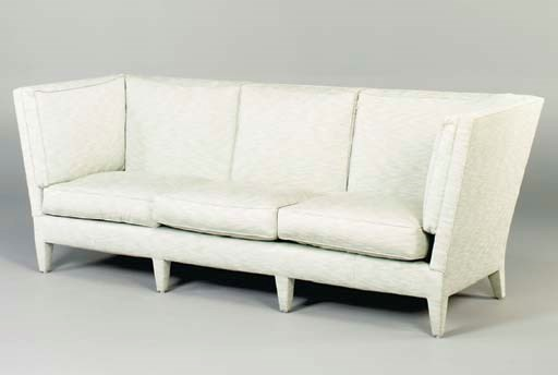 A MOHAIR AND KNOWLE SOFA AND O