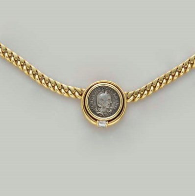 A COIN, DIAMOND AND 18K GOLD N