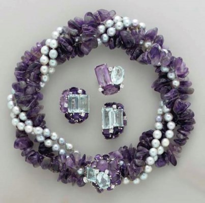 A SUITE OF AMETHYST, CULTURED