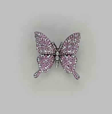 A PINK SAPPHIRE, DIAMOND AND O