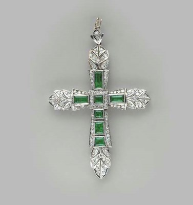 AN EMERALD, DIAMOND AND WHITE
