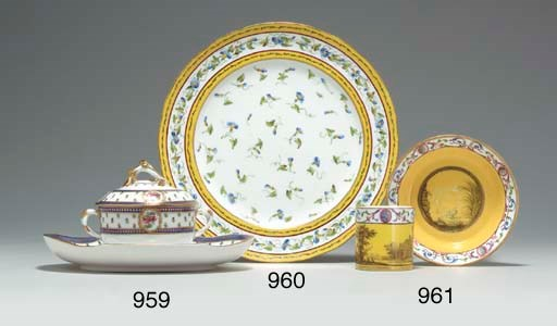 A SEVRES YELLOW-GROUND PLATE
