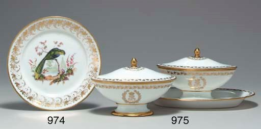 TWO SEVRES GILT-WHITE SUGAR-BO