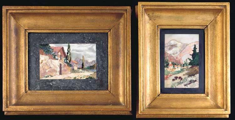 Two framed Italian pietre dure