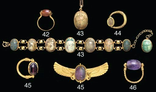 TWO EGYPTIAN AMETHYST SCARABS