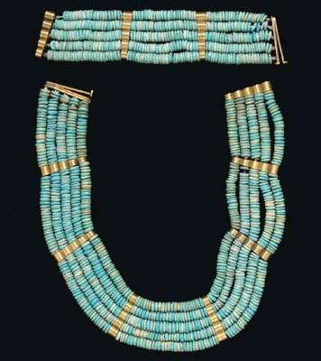 AN EGYPTIAN FAIENCE BEAD JEWEL