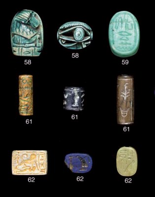 THREE EGYPTIAN CYLINDER SEALS