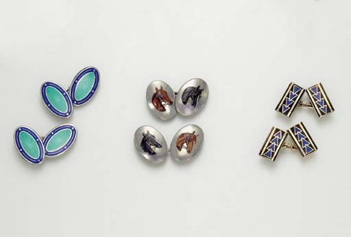 A GROUP OF ART DECO CUFF LINKS