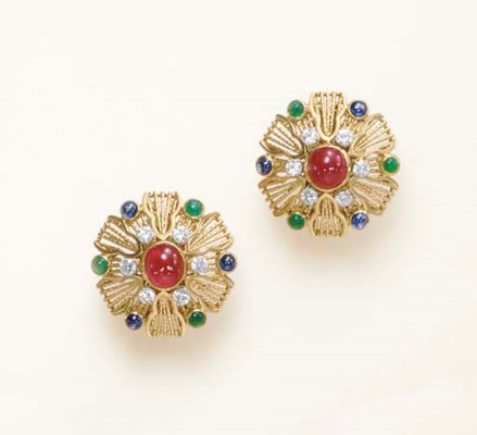 A PAIR OF MULTI-GEM AND GOLD E
