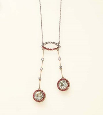 A DIAMOND AND RUBY LAVALIER NE