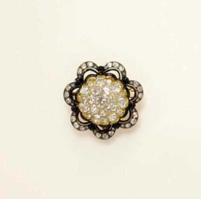 AN ANTIQUE DIAMOND AND ENAMEL