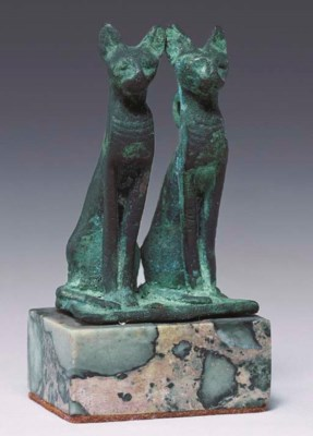 AN EGYPTIAN BRONZE DOUBLE-CAT