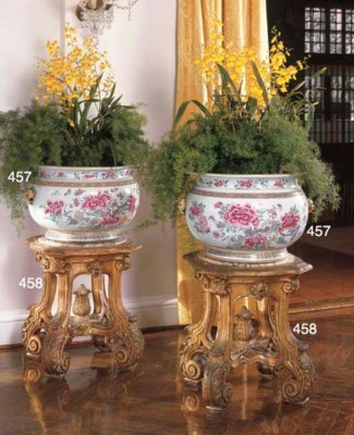 A PAIR OF FRENCH GILTWOOD URN