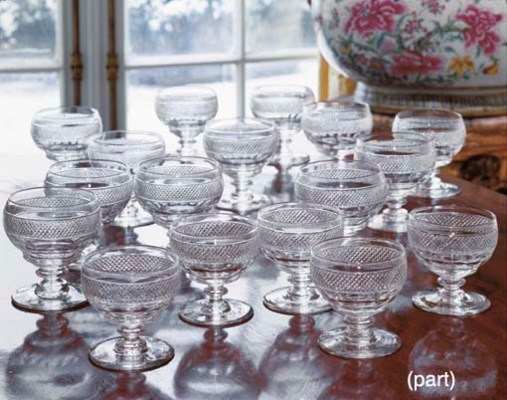 FIFTEEN CUT-GLASS GOBLETS