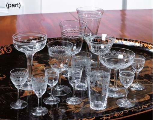 AN ASSORTMENT OF GLASS PART ST