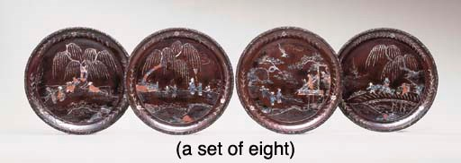 A SET OF EIGHT CHINESE LAC BUR