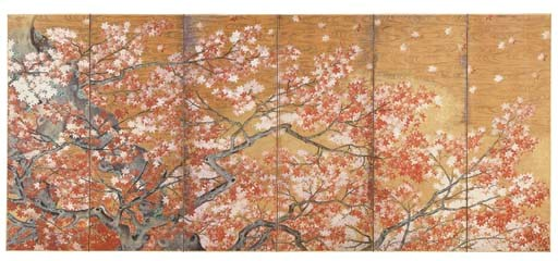 A JAPANESE SIX-PANEL SCREEN OF