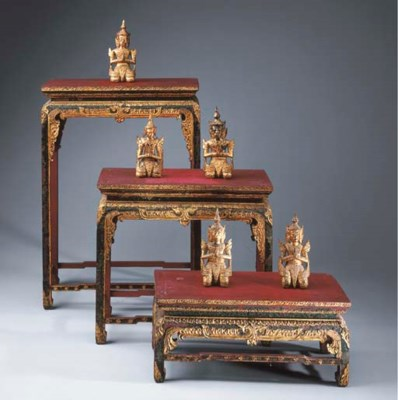 Five Thai Lacquered and Gilt-W