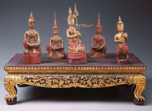 A Set of Thai Five Gilt and Po