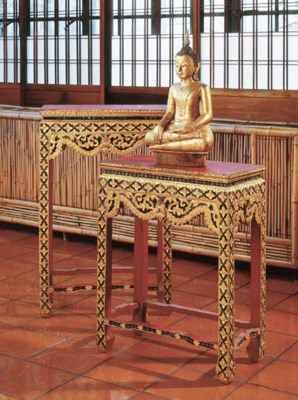 A Thai Gilt and Lacquered Wood