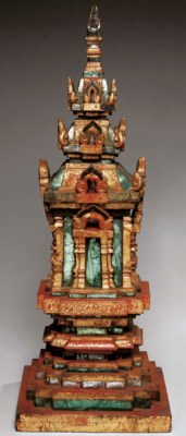 A Thai Gilt and Red-Lacquered