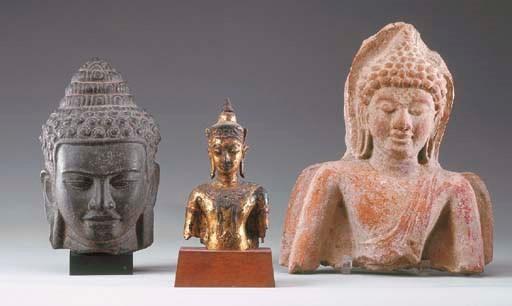 A Thai Gilt-Bronze Torso of Bu