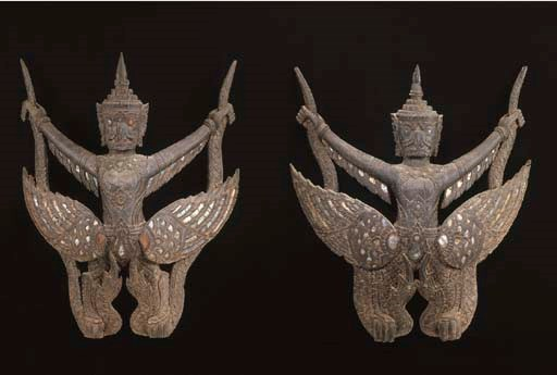 A Pair of Thai Wood and Glass-