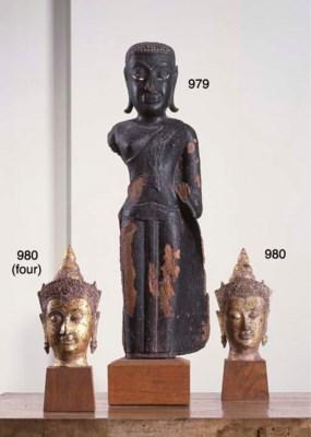 Four Thai Gilt-Bronze Buddha H