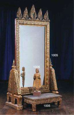 A Thai Gilt-Wood and Inlaid Mi