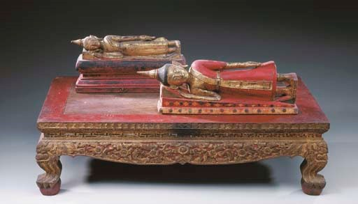 Two Thai Gilt and Polychromed-