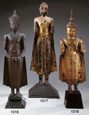 A Thai Lacquered and Gilt-Bron