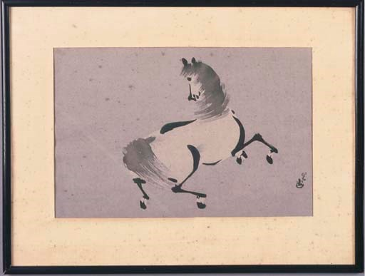 A JAPANESE PAINTING OF A HORSE