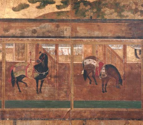 A JAPANESE TWO-PANEL SCREEN OF