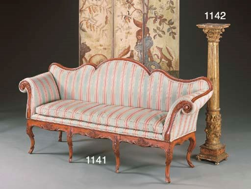 AN ITALIAN RED-PAINTED SETTEE