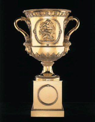 A LARGE FRENCH TWO-HANDLED SIL