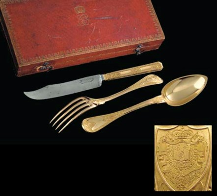 A FRENCH GOLD KNIFE, FORK AND
