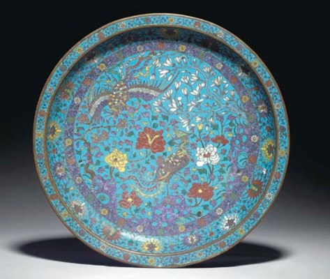 A CHINESE SHALLOW CLOISONNE EN