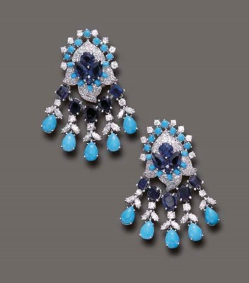 A PAIR OF SAPPHIRE, TURQUOISE