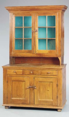 A CHIPPENDALE PINE STEP-BACK C
