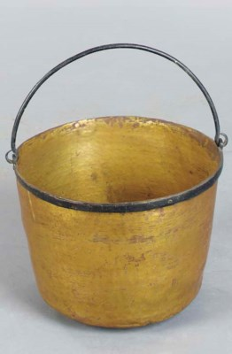 A BRASS AND PAINTED IRON CAULD