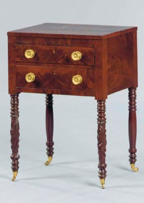 A LATE FEDERAL CARVED MAHOGANY