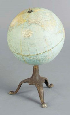A TABLE GLOBE ON STEEL BASE,