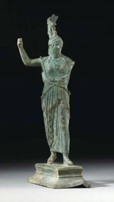 A ROMAN BRONZE ATHENA PROMACHO