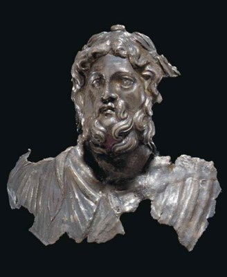 A ROMAN SILVER BUST OF JUPITER