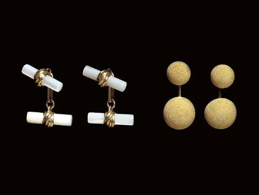 THREE PAIRS OF GOLD CUFFLINKS,